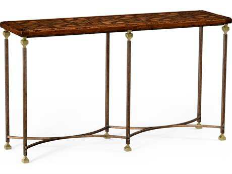 Jonathan Charles Anvil Light Antique Gold-Leaf With Carved Floral Detail 60 x 16 Rectangular Console Table