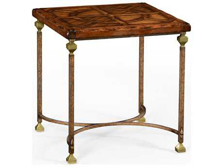 Jonathan Charles Anvil Light Antique Gold-Leaf With Carved Floral Detail 24 Square End Table