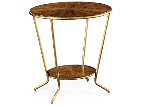 Jonathan Charles Luxe Medium Walnut 25.5 x 19.5 Oval End Table