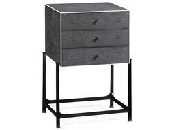 Jonathan Charles Luxe Anthracite Shagreen Chest with Bronze Base Nightstand