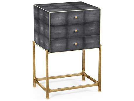 Jonathan Charles Luxe Anthracite Shagreen High Chest with Gilt Base Nightstand