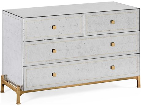 Jonathan Charles Luxe Etched On Genuine Silver-Leaf Glass Chest