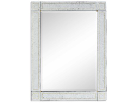 Jonathan Charles Luxe Etched On Genuine 32 x 42 Silver-Leaf Glass Wall Mirror