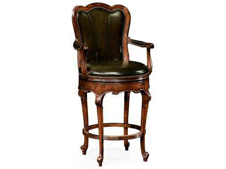 Jonathan Charles Windsor Medium Walnut Bar Stool
