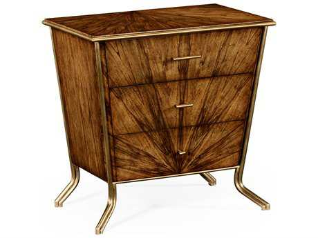 Jonathan Charles Luxe Light Argentinean Walnut 28.5 x 28.5 Three Drawer Nightstand
