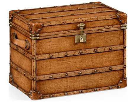 Jonathan Charles Voyager Medium Antique Chestnut Leather  Steamer Trunk