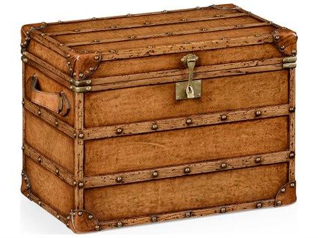 Jonathan Charles Voyager Medium Antique Chestnut Leather  Steamer Trunk