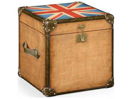 Jonathan Charles Union Jack Light Walnut Square Trunk