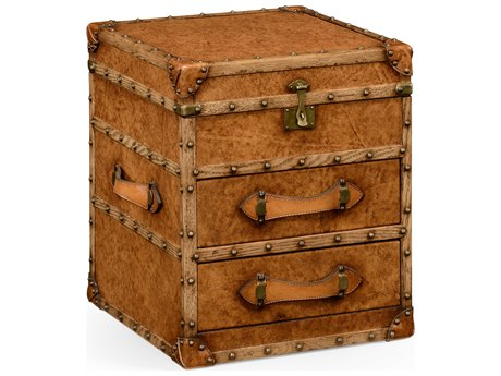 Jonathan Charles Voyager Medium Antique Chestnut Leather 15.75 x 15 Three Drawer Nightstand