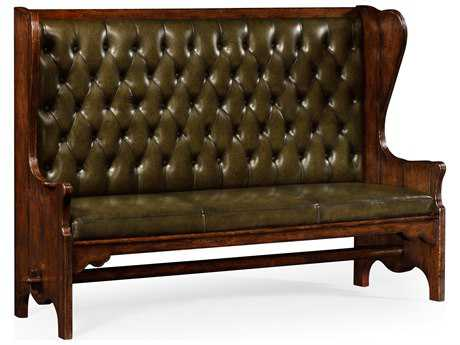 Jonathan Charles Tudor Oak Medium English Library Green Leather Sofa Couch