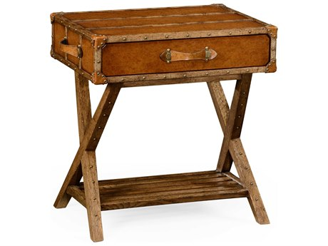 Jonathan Charles Voyager Medium Antique Chestnut Leather 25.75 x 18.75 Rectangular End Table