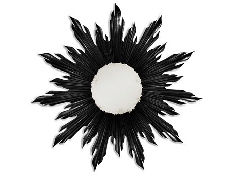 Jonathan Charles Versailles 40 Round Painted Formal Black Wall Mirror