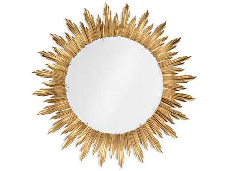 Jonathan Charles Versailles 69 Round Light Antique Gold-Leaf With Carved Floral Detail Wall Mirror