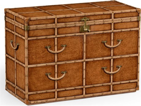 Jonathan Charles Voyager Medium Antique Chestnut Leather Chest