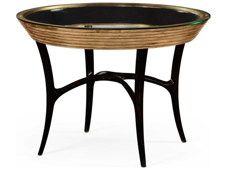 Jonathan Charles Luxe Light Antique Gold-Leaf 42.5 Round Foyer Table