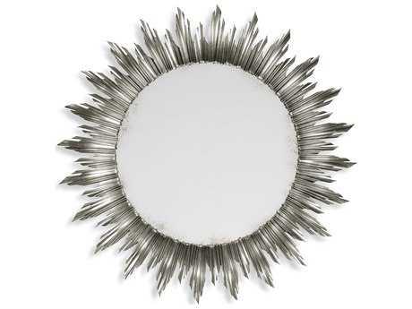 Jonathan Charles Versailles 69 Round Light Antique Silver-Leaf Wall Mirror