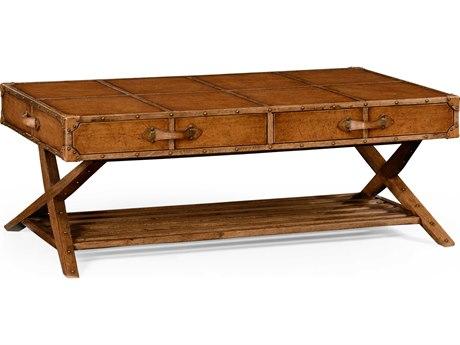 Jonathan Charles Voyager Medium Antique Chestnut Leather 54.5 x 32.5 Rectangular Coffee Table