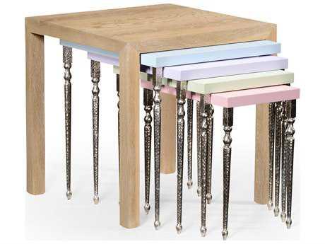 Jonathan Charles Alexander Julian Limed Oak Wood 26 Square Nesting Table