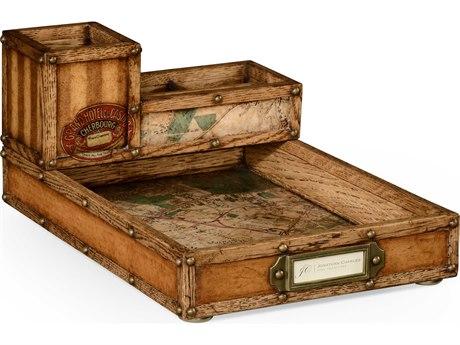 Jonathan Charles Voyager Medium Antique Chestnut Leather Desk Organizer