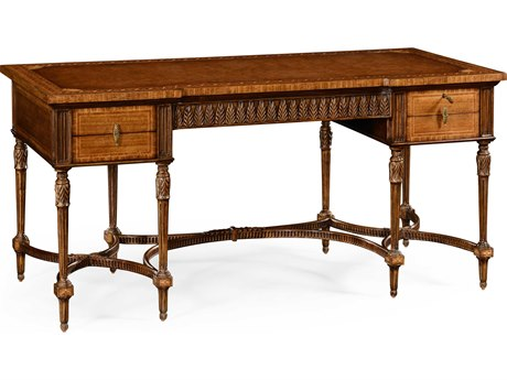 Jonathan Charles Windsor Medium Crotch Walnut Marquetry Writing Desk