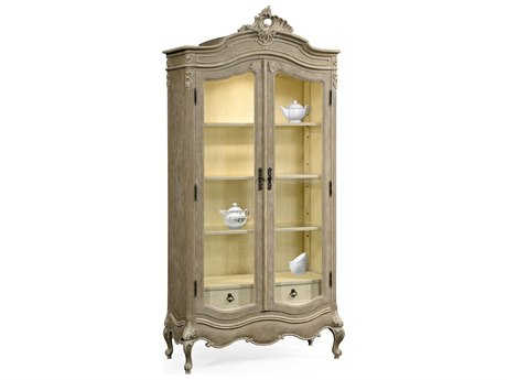 Jonathan Charles Country Farmhouse Painted Grey Weathered China Cabinet Armoire