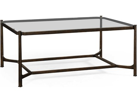 Jonathan Charles Luxe Antique Bronze Finish On Metal 48 x 34 Rectangular Coffee Table