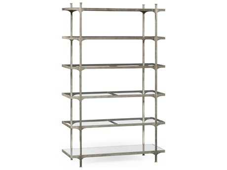 Jonathan Charles Luxe Gilded Antique Silver-Leaf Etagere Rack