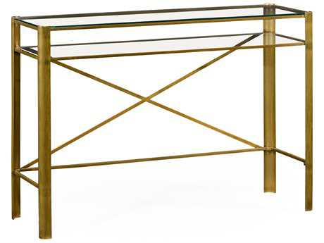 Jonathan Charles Cosmo Light Antique Brass 16 x 48 Rectangular Console Table