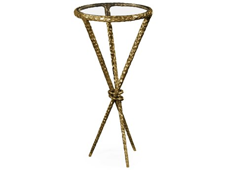 Jonathan Charles Stiletto Light Brown Brass 13 Round Bar Table