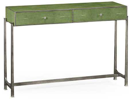 Jonathan Charles Luxe Green Shagreen With Gilded Border 48 x 13.75 Rectangular Console Table