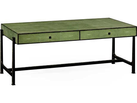 Jonathan Charles Luxe Green Shagreen With Gilded Border 50.5 x 26 Rectangular Coffee Table