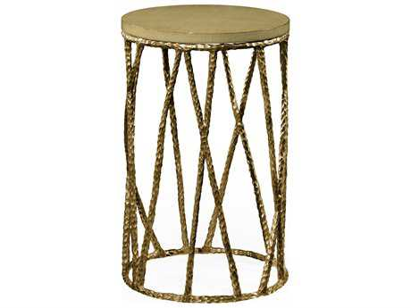Jonathan Charles Artisan Light Brown Brass 16 Round Drum Table