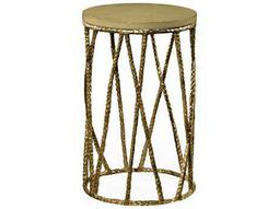 Jonathan Charles Artisan Light Brown Brass 16 Round Drum Table