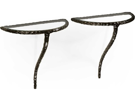 Jonathan Charles Stiletto Antique Black With Highlight 12 x 6 Demilune Console Table
