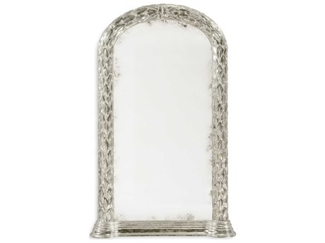 Jonathan Charles Versailles 25 x 42 Antique Silver-Leaf With Carved Floral Detail Wall Mirror
