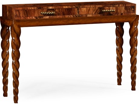 Jonathan Charles Twist Tropical Crotch Walnut 60 x 16 Rectangular Console Table