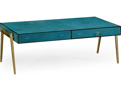 Jonathan Charles Luxe Teal Shagreen 50 x 28 Rectangular Coffee Table