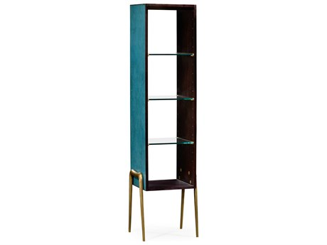 Jonathan Charles Luxe Teal Shagreen Etagere Rack