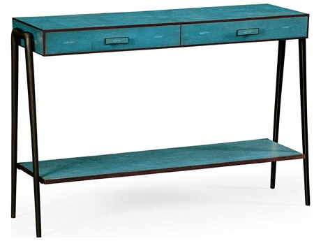 Jonathan Charles Luxe Teal Shagreen 48.5 x 14.75 Rectangular Console Table