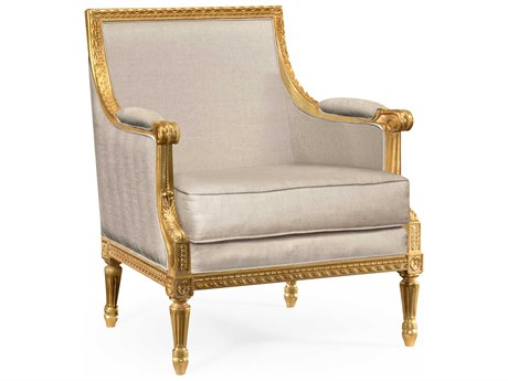 Jonathan Charles Versailles collection Light Antique Gold-Leaf With Carved Floral Detail Accent Arm Chair