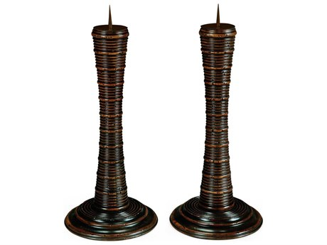 Jonathan Charles Moroccan collection Rustic Walnut Finish Candle Holder