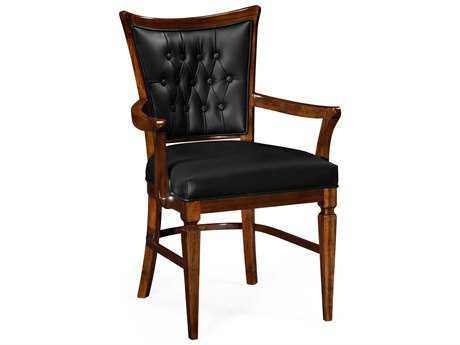 Jonathan Charles Octavia Calista on Wood Black Leather Upholstered Dining Arm Chair