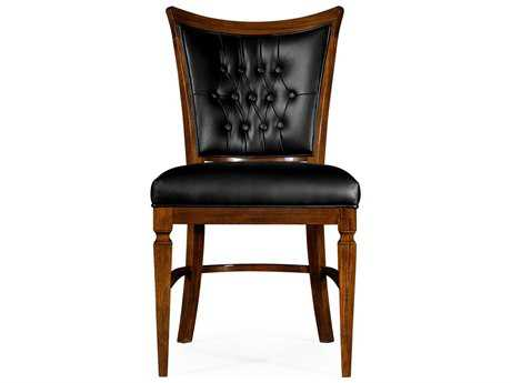 Jonathan Charles Octavia Calista on Wood Black Leather Upholstered Dining Side Chair