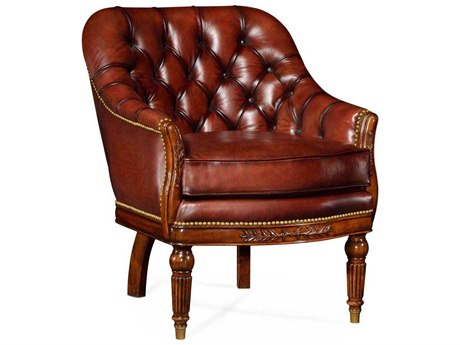 Jonathan Charles Buckingham Medium Parliament Red Leather Mahogany Occasional Chair