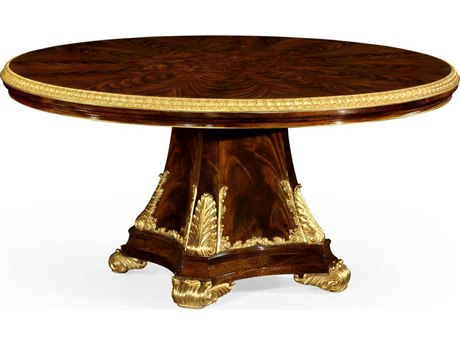 Jonathan Charles Monte Carlo Antique Mahogany Brown - High Lustre 79'' Round Dining Table with Gilt Carved Molding