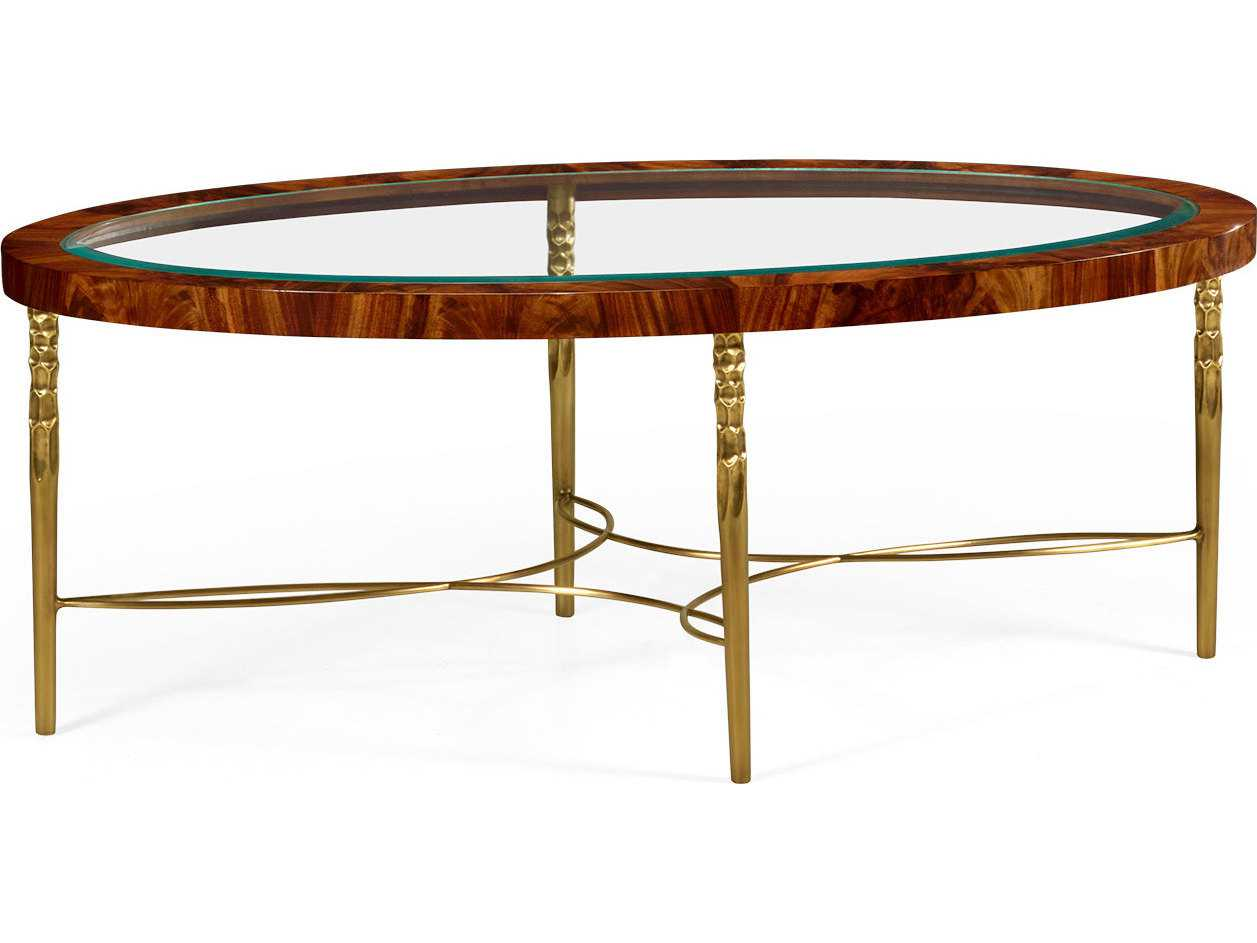 Jonathan Charles Curated Tropical Walnut Crotch Oval Coffee Table With Brass Base Jc495649twc