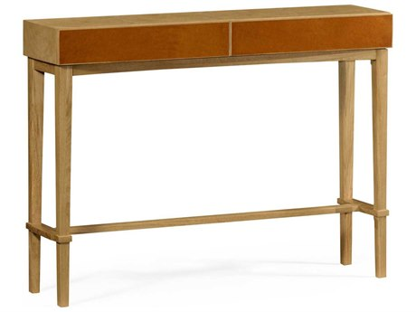Jonathan Charles Architects House Light Washed Oak Archetectural Console Table with Leather Drawers