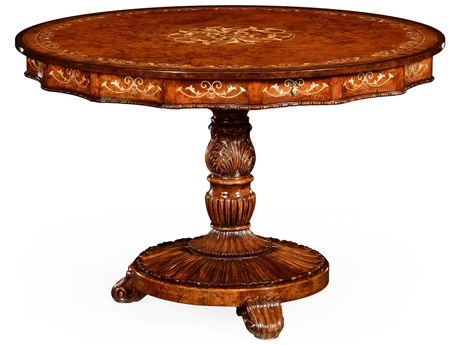 Jonathan Charles Duchess Light Burr Walnut Lustre 48 Round Foyer Table