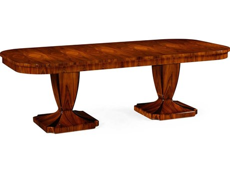 Jonathan Charles Santos Limed Tulip Wood with Carved Floral Detail 95'' x 43'' Double Pedestal Dining Table
