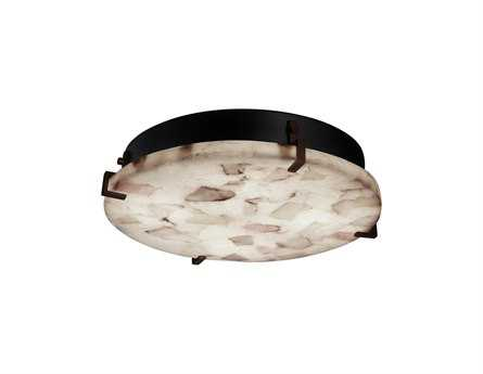 Justice Design Group Alabaster Rocks Clips Round Resin Six-Light ADA Wall Sconce - Flush Mount Light